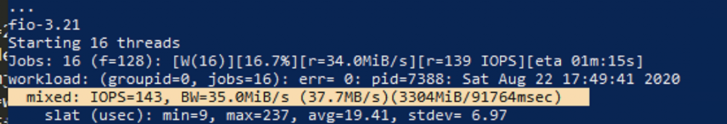 256k sequential writes on st1
